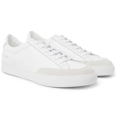 Common Projects - Tennis Pro Suede-Trimmed Leather Sneakers