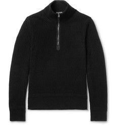 TOM FORD Cotton, Wool and Silk-Blend Half-Zip Sweater