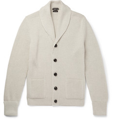 TOM FORD - Steve McQueen Shawl-Collar Ribbed Wool Cardigan