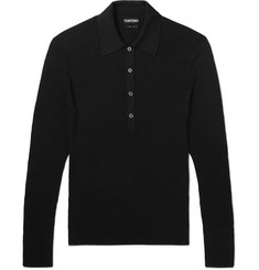 TOM FORD Ribbed-Knit Polo Shirt