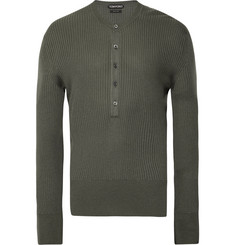 TOM FORD Slim-Fit Ribbed-Knit Henley Sweater