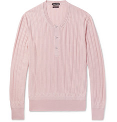 TOM FORD Ribbed Cashmere and Silk-Blend Henley Sweater