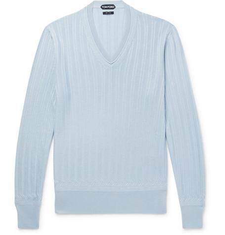 Cashmere And Silk-blend Sweater - Light blue