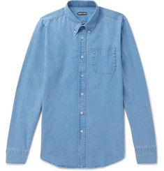 TOM FORD Button-Down Collar Linen and Cotton-Blend Chambray Shirt