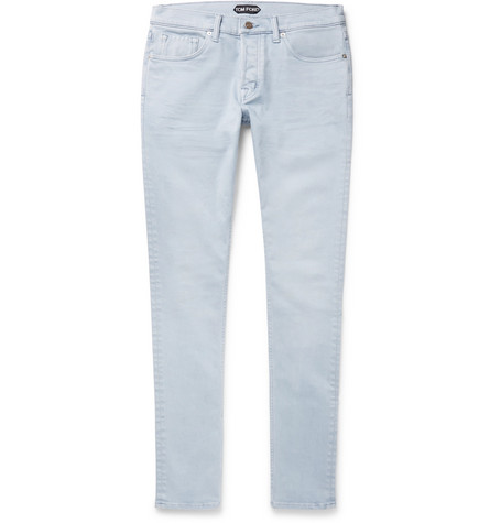 Tom Ford Slim-fit Washed Stretch-denim Jeans In Light Blue