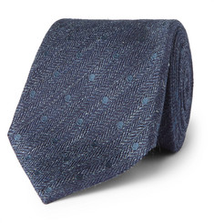 TOM FORD 8cm Embroidered Herringbone Linen and Silk-Blend Tie