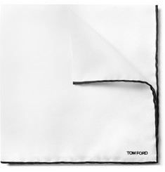 TOM FORD - Contrast-Tipped Silk-Twill Pocket Square