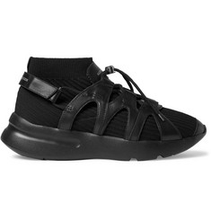 Alexander McQueen Exaggerated-Sole Leather-Trimmed Stretch-Knit Sneakers