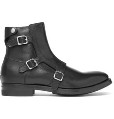 Alexander McQueen Full-Grain Leather Monk-Strap Biker Boots