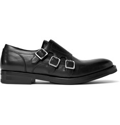 Alexander McQueen Full-Grain Leather Monk-Strap Shoes