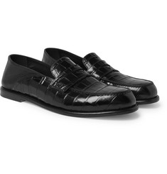 Loewe Collapsible-Heel Croc-Effect and Full-Grain Leather Loafers