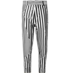 Haider Ackermann Slim-Fit Cropped Striped Twill Trousers
