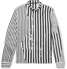 Haider Ackermann Button-Down Collar Striped Silk-Twill Shirt