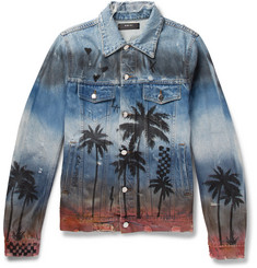 AMIRI Slim-Fit Distressed Printed Denim Jacket