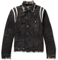 AMIRI Slim-Fit Leather-Trimmed Distressed Stretch-Denim Jacket