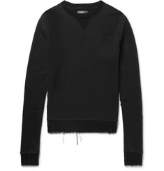 AMIRI Shotgun Distressed Loopback Cotton-Jersey Sweatshirt