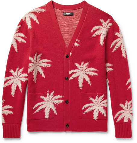 Oversized Palm Tree-intarsia Cashmere Cardigan - Red