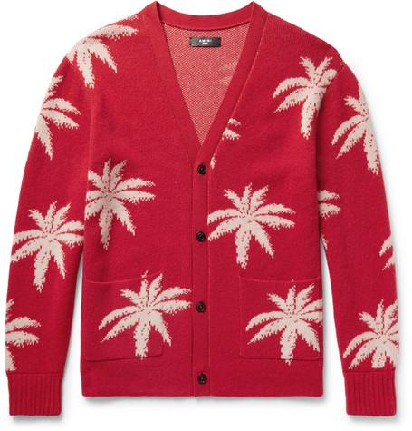 Oversized Palm Tree-intarsia Cashmere Cardigan - Red