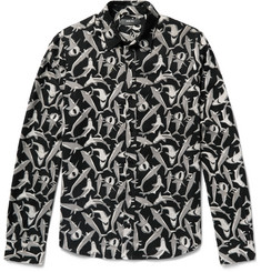 AMIRI Slim-Fit Shark-Print Tencel Shirt