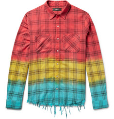 AMIRI - Distressed Dip-Dyed Checked Cotton-Flannel Shirt