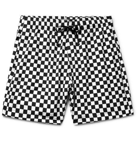b0f3a9d6e7 Amiri Mid-Length Checkerboard Swim Shorts In White | ModeSens