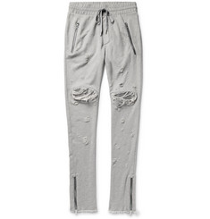AMIRI MX1 Slim-Fit Tapered Leather-Panelled Distressed Cotton-Jersey Sweatpants