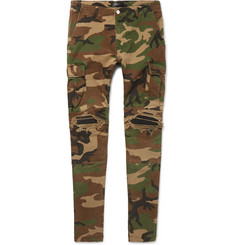 AMIRI MX1 Slim-Fit Tapered Leather-Panelled Camouflage-Print Stretch-Cotton Trousers