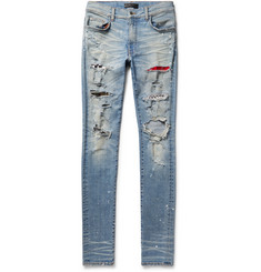 AMIRI Skinny-Fit Canvas-Panelled Distressed Stretch-Denim Jeans