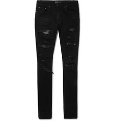 AMIRI Skinny-Fit Crystal-Trimmed Distressed Stretch-Denim Jeans