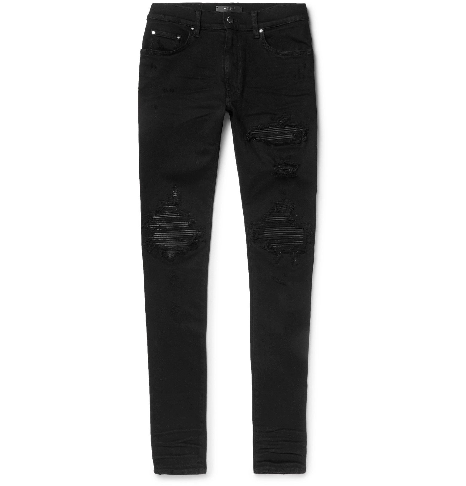 For Cheap Discount Cheap Excellent Skinny-fit Appliquéd Panelled Distressed Stretch-denim Jeans Amiri Clearance From China hdsNm04
