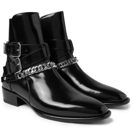 Chain-detailed Leather Jodhpur Boots - Black