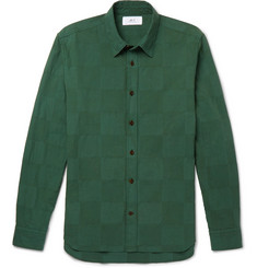 Mr P. Slim Garment-Dyed Patchwork Cotton Shirt