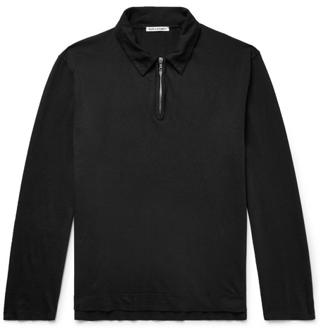 Our Legacy Slim-Fit Cotton-Jersey Half-Zip Polo Shirt In Black