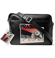 Prada Printed Leather Messenger Bag