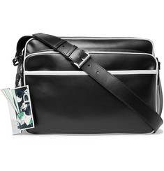 Prada Contrast-Piped Leather Messenger Bag