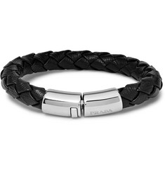 Prada - Woven Saffiano Leather and Silver-Tone Bracelet