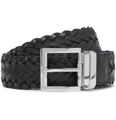 Prada 3.5cm Black and Blue Woven Saffiano Leather Belt