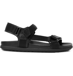 Prada Leather-Trimmed Webbing Sandals