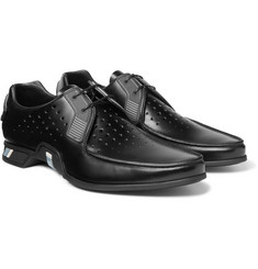 Prada - Rubber-Trimmed Perforated Spazzolato Leather Derby Shoes