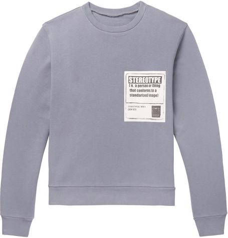 MAISON MARGIELA Appliquéd Loopback Cotton-Jersey Sweatshirt, Gray