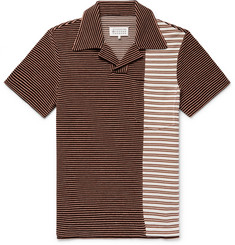 Maison Margiela Slim-Fit Striped Piqué-Panelled Cotton-Blend Polo Shirt
