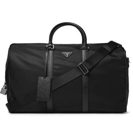 Saffiano Leather Trimmed Nylon Holdall by Prada