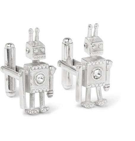 Robot Silver Crystal Cufflinks by Prada