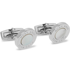 Hugo Boss T-Round Silver-Tone Mother-of-Pearl Cufflinks