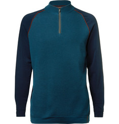 Loro Piana Slim-Fit Panelled Virgin Wool-Blend Half-Zip Sweater
