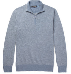Loro Piana Slim-Fit Roadster Striped Cashmere Half-Zip Sweater