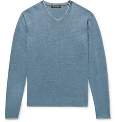 Loro Piana Slim-Fit Contrast-Tipped Linen and Silk-Blend Sweater