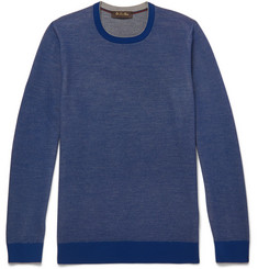 Loro Piana Contrast-Tipped Mélange Wool and Cashmere-Blend Piqué Sweater
