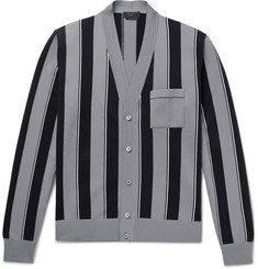 Prada Slim-Fit Striped Knitted Cardigan