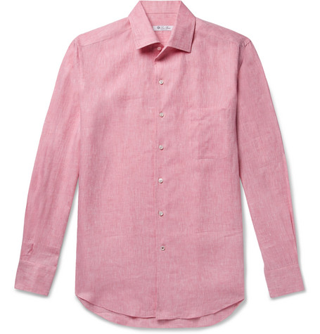90e14b439 Loro Piana Men's Andrew Long-Sleeve Linen Shirt In Pink | ModeSens